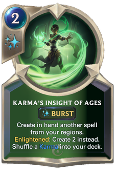 Legends of Runeterra Karma's Insight of Ages Card