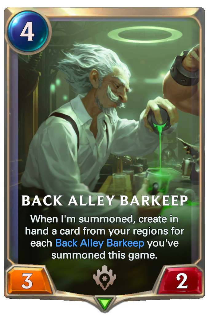Legends of Runeterra Back Alley Barkeep Card