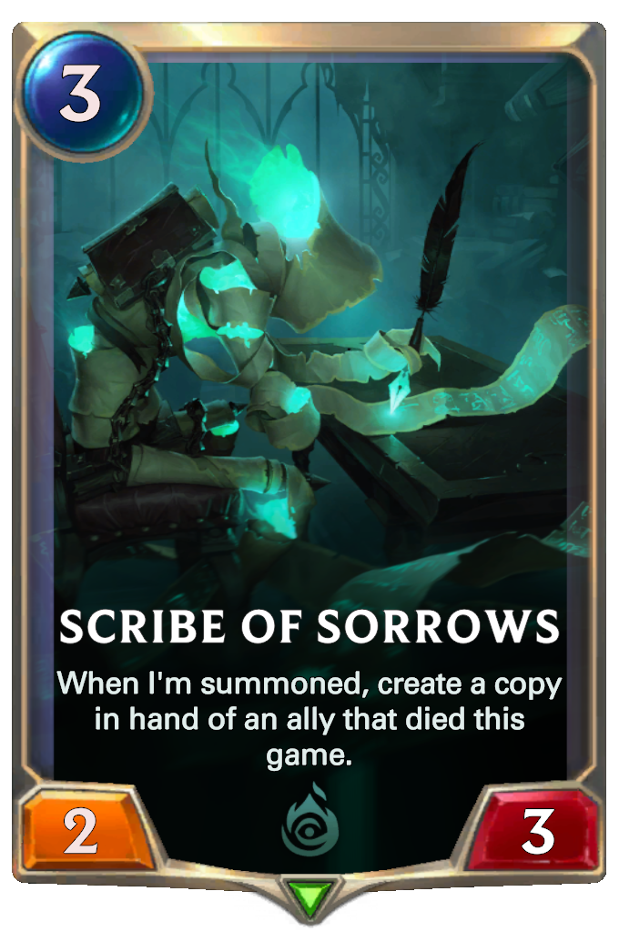 Legends of Runeterra Scribe of Sorrows Card