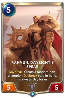 Legends of Runeterra Rahvun, Daylight's Spear Card